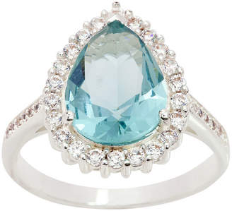 clear SPARKLE ALLURE Sparkle Allure Cz And Pear Shaped Light Blue Crystal Stone With Halo Blue Crystal Pure Silver Over Brass