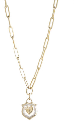 Foundrae Small Crest Gemstone Heart Necklace