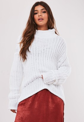 Missguided White High Neck Oversized Ribbed Jumper