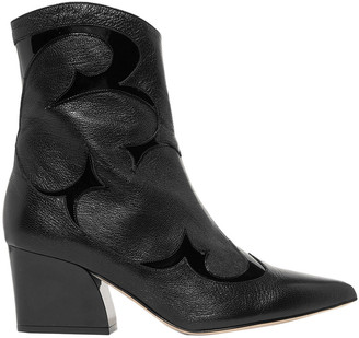 Tibi Felix Patent And Textured-leather Ankle Boots