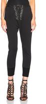 Unravel Lace Front Cotton & Leather Sweatpants