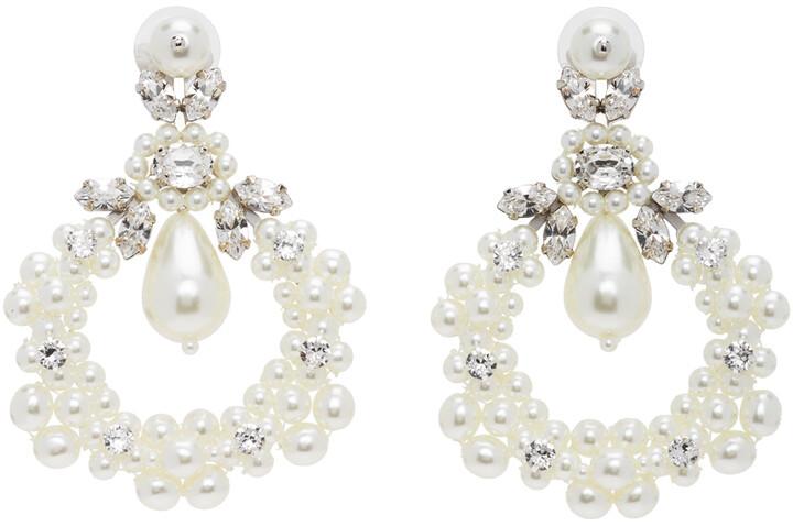 Simone Rocha White Jewelled Cluster Cameo Earrings