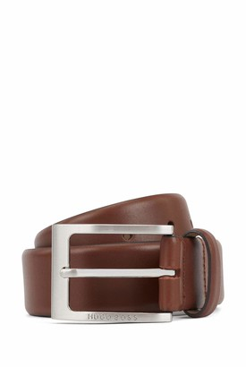 HUGO BOSS Mens Barnabie Nappa-leather belt with logo-engraved pin buckle