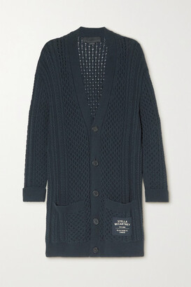 Stella McCartney Cable-knit Organic Cotton-blend Cardigan - Navy