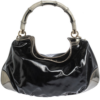 Gucci Black/Metallic Coated Fabric and Patent Leather Medium Babouska Indy Hobo
