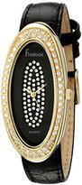 Freelook Women's HA8219G-1 Black Leather Band & Dial Gold Case Swarovski Dial And Bezel Watch
