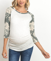 Gray & Olive Floral-Sleeve Maternity Raglan Top