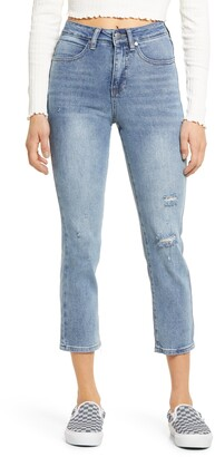 BP Ripped High Waist Straight Leg Jeans