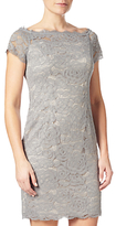 Adrianna Papell Off Shoulder Lace Sheath Dress, Silver Blue/Almond