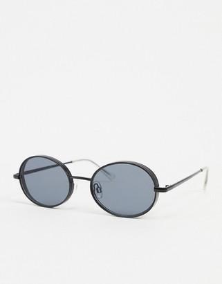 Jack and Jones oval sunglasses in black