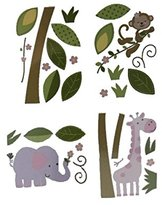 Kids Line Babies R Us Girls Monkey Wall Decals, Safari Jungle Elephant Giraffe Pink