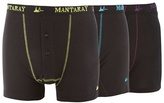 Mantaray Pack Of Three Black And Grey Two Buttoned Boxer Shorts