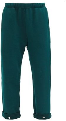 LES TIEN Snap-front Brushed-back Cotton Track Pants - Green