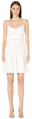 ML Monique Lhuillier Sleeveless Lace Fit and Flare Dress (Jet Ivory Combo) Women's Clothing