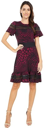 MICHAEL Michael Kors Animal Mesh Mix Short Sleeve Dress (Dark Ruby) Women's Dress
