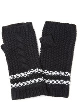 Amanda Wakeley Black Cable Knit Fingerless Gloves