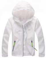 L-Asher Women's Lightweight Windbreaker UV Protect Coat Hooded Sport Front-Zip Jacket M