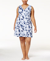 Alfani Plus Size V-Neck Printed Chemise, Only at Macy's