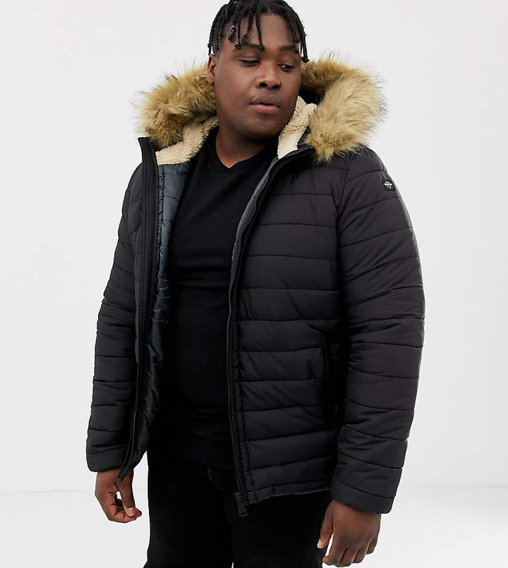 8cbb5a5ece Rocky 2 hooded puffer bomber with detachable faux fur trim in black