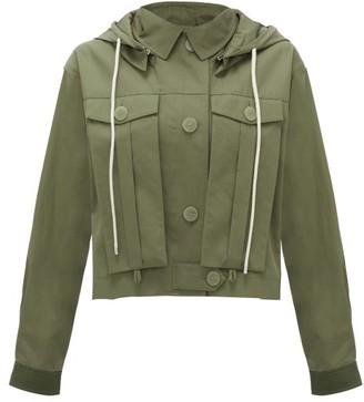 Loewe Hooded Elbow-patch Cotton-gabardine Jacket - Womens - Khaki