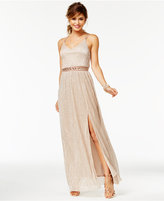 Amy Byer Juniors' Illusion A-Line Gown