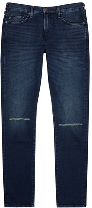 Rocco dark blue distressed slim-leg jeans