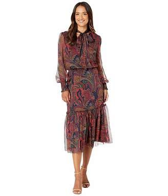 Lauren Ralph Lauren Tie Neck Georgette Dress