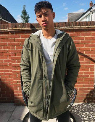 ONLY & SONS parka with fleece lined hood in khaki