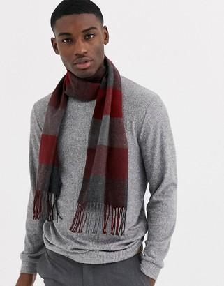 Moss Bros scarf in burgundy gray block check