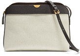 The Row Textured Leather-trimmed Canvas Shoulder Bag - Light gray