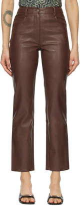 Miaou Brown Vegan Leather Junior Pants