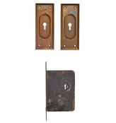 Rejuvenation Pocket Door Pulls w/ Mortise Lock by Russell & Erwin