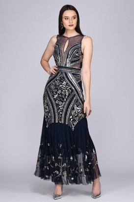Gatsbylady London Sharon Illusion Neckline Backless Maxi Dress in Navy