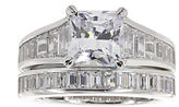 JCPenney FINE JEWELRY DiamonArt Cubic Zirconia Sterling Silver Princess Bridal Ring Set