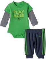 adidas Baby Boy Mock-Layered Long Sleeve Sporty Graphic Bodysuit & Jogger Pants Set