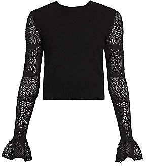 Alexander McQueen Women's Ruffle Cuff Lace Sleeve Sweater
