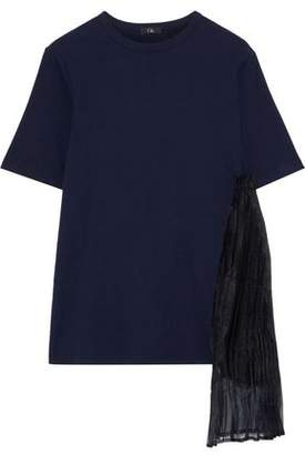 Clu Pleated Chiffon-appliqued Cotton-jersey T-shirt