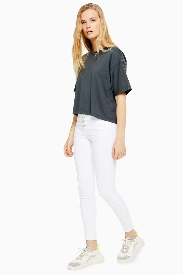 Topshop Womens White Button Fly Jamie Jeans - White