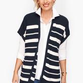Talbots Striped Open Vest