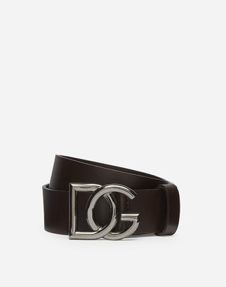 Dolce & Gabbana Leather Belt With Crossed Logo