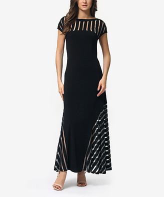 LADA LUCCI Women's Special Occasion Dresses Black - Black & Sliver Stripe Semisheer Fit & Flare Maxi Dress - Women & Plus