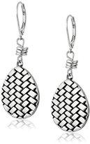 The Sak Basket Weave Silver Drop Earrings