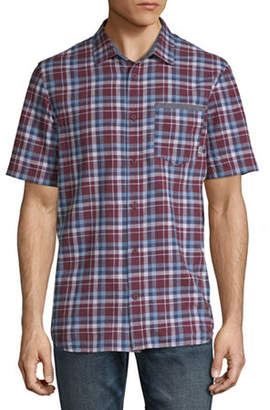 Vans Mens Short Sleeve Plaid Button-Front Shirt