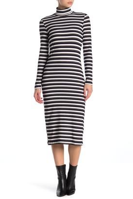 NSR Quinn Stripe Rib Knit Midi Dress