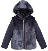 Armani Junior Armani Girls' Hooded Faux Fur Jacket - Sizes 4-16