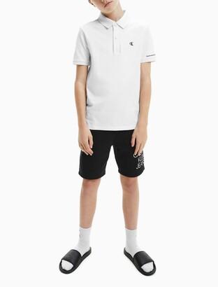 Calvin Klein Boys Monogram Logo Pique Fitted Polo