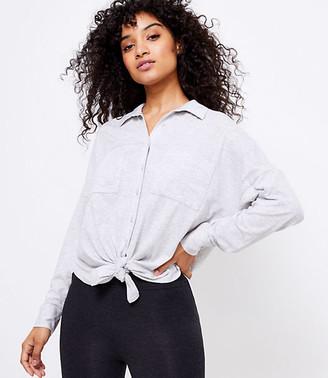 LOFT Lou & Grey Softserve Slub Tie Front Shirt