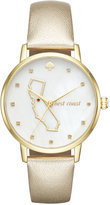 Kate Spade Women's Metro California Gold-Tone Leather Strap Watch 34mm KSW1300