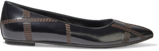Tod's Embroidered Leather Point-toe Flats