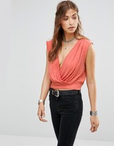Free People Dream Cross Front Crop Top In Pink